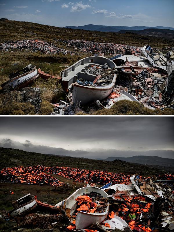 L'épave de bateau et les milliers de gilets de sauvetage abandonnés à Mithymna et photographiés par le photographe le 19 février 2016 (photo du bas) n'avaient pas bougé le 4 août 2018 (photo du haut).