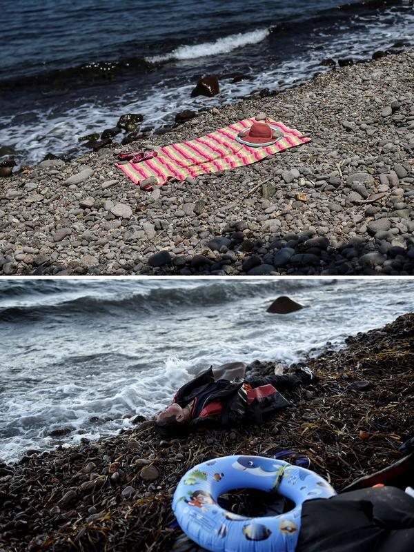 Une serviette de plage sur les galets de la plage du village de Skala Sykamineas, le 3 août. Au même endroit, le 1er novembre 2015, gisait le corps d'un homme décédé dans le naufrage d'un bateau de migrants au large.
