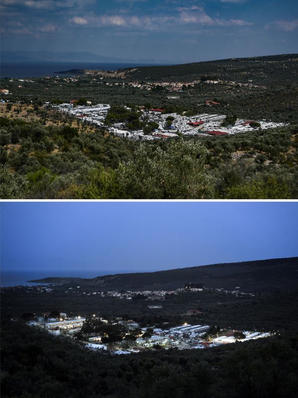Le camp de migrants de Moria, à quelques kilomètres de la capitale de l'île, Mytilene. En haut, le 5 août 2018. En bas, le 5 avril 2016.