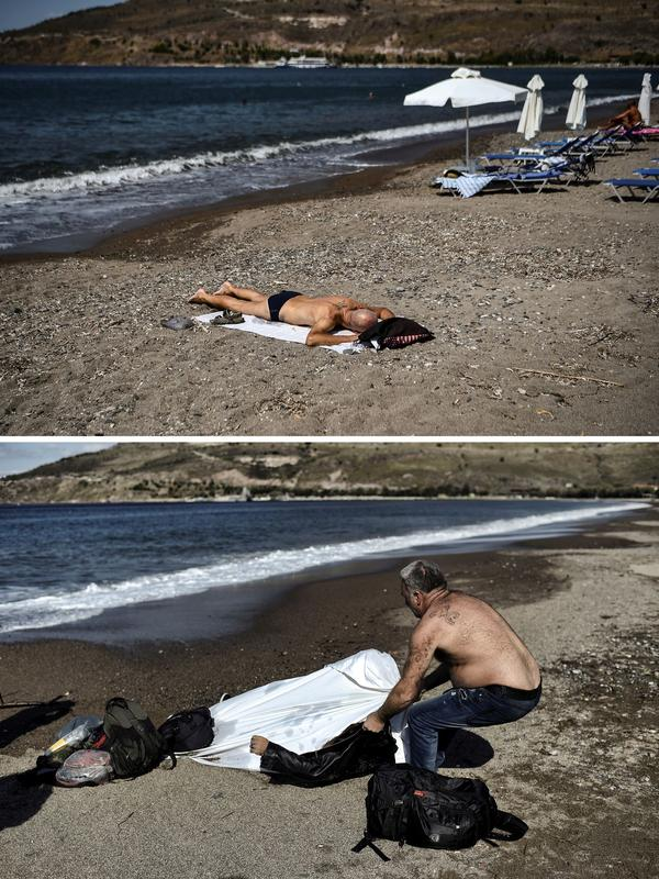 À gauche, un habitant de Lesbos emmenait le corps d'un homme mort dans le naufrage d'une embarcation de migrants sur la plage du village de Petra, le 30 octobre 2015. À droite, un homme prend le soleil sur la même plage, le 3 août dernier.