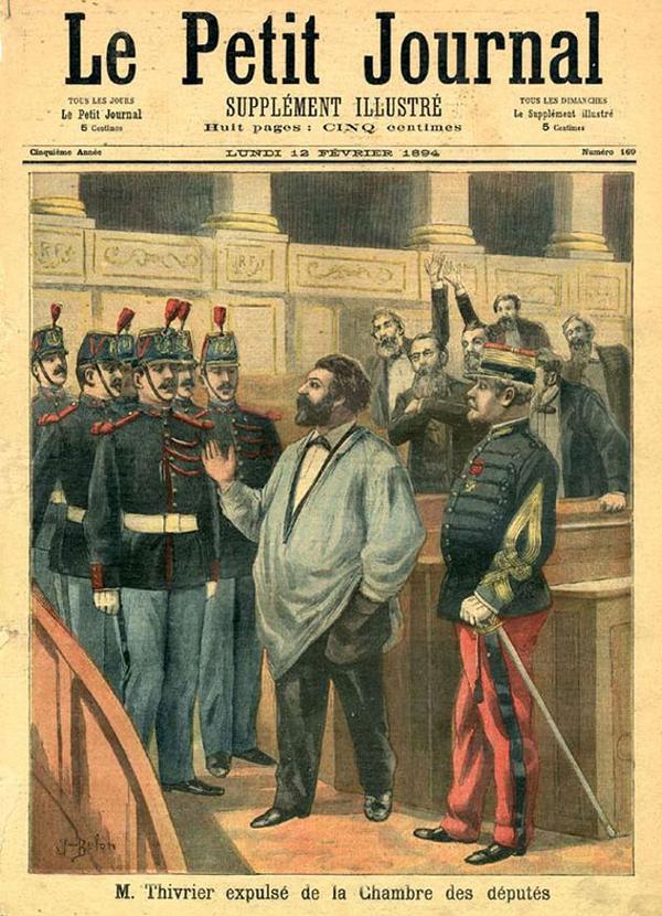 La une du <i>Petit journal</i> du 12 février 1894, relatant l'expulsion du député Thivrier de l'Hémicycle, dessiné vêtu de sa blouse d'ouvrier.