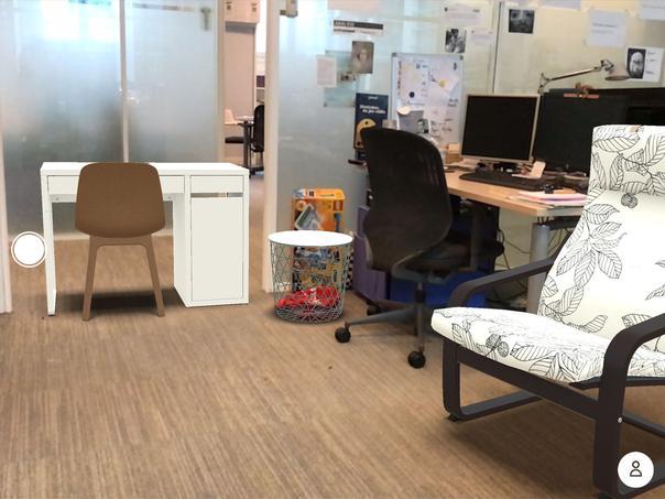 Nous avons rajouté quatre objets virtuels à notre environnement avec IKEA Place.