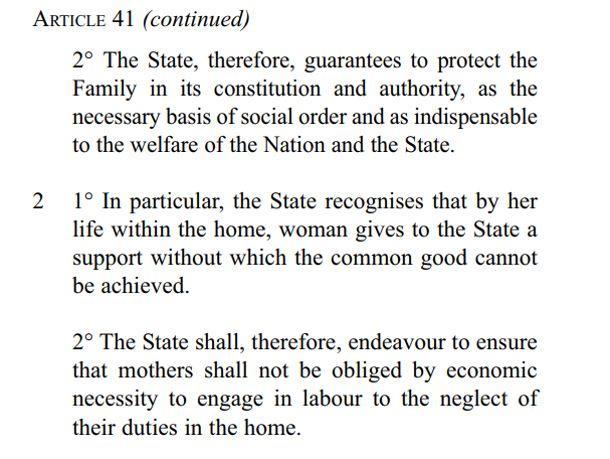 L'article 41 de l'actuelle Constitution irlandaise.