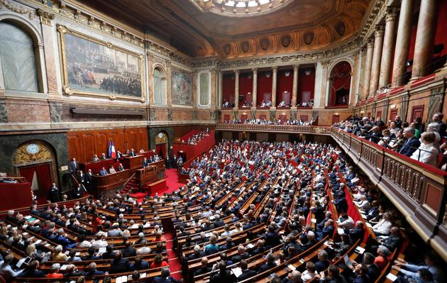 Le président Emmanuel Macron s'adresse devant les parlementaires réunis en Congrès à Versailles, le 9 juillet 2018.