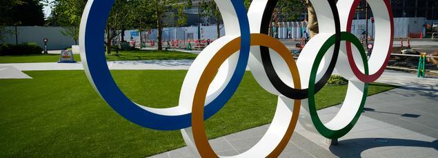 Les anneaux olympiques à Tokyo au Japon