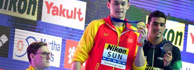 Le podium du 400 mètres nage libre