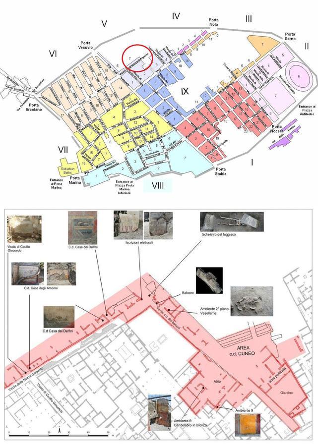 Toutes les récentes découvertes se situent sur la Vicolo delle Nozze d'argento, après le bloc 7.