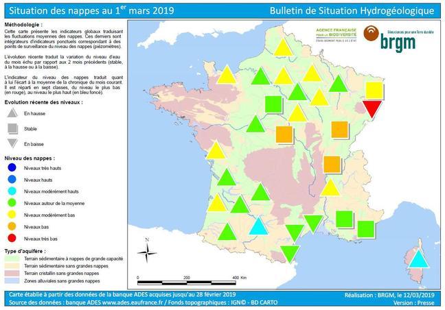 Situation des nappes au 1er mars 2019