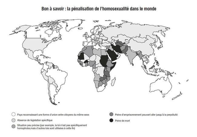 Extrait de la notice de l'Homophobiol, le médicament de l'association Aides, détaillant la pénalisation de l'homosexualité dans le monde.