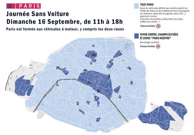 Les zones concernées par la Journée sans voiture le dimanche 16 septembre 2018.
