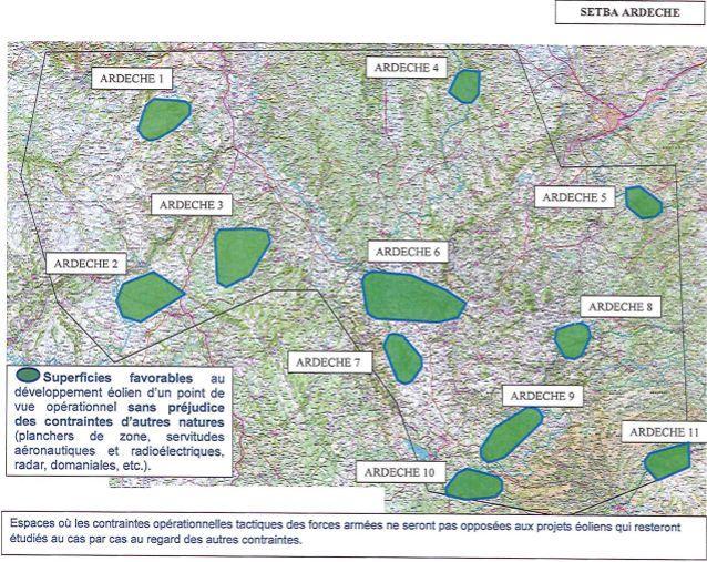 Un exemple des superficies «favorables» aux éoliennes, en vert, ici dans un secteur de vol en Ardèche.