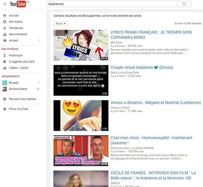 Comparaison des résultats de recherche sur YouTube avec le mot-clé «lesbienne», avec le mode restreint désactivé et activé.