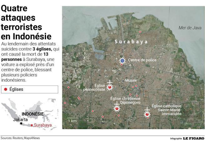 La localisation des attaques terroristes en Indonésie