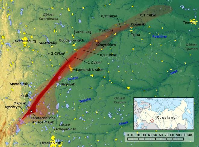 Carte montrant le tracé de la contamination engendrée par la catastrophe.