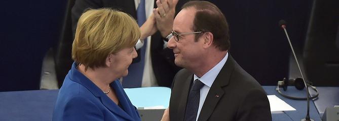 Devant les eurodéputés, Hollande et Merkel plaident pour «plus d'Europe» face aux crises