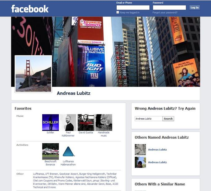 Capture d'écran de la page Facebook d'Andreas Lubitz