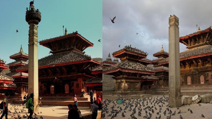 Une statut du Garud, une divinité hindoue, a été partiellement endommagée après le séisme. Crédits photo: AP Photo/Bernat Armangue et photo de droit commun. Montage: Le Figaro.