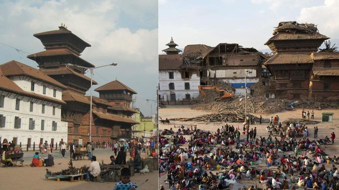 Toujours le Basantapur Square, où une partie des victimes du séismes se sont regroupés. Crédits photo: AP Photo/Bernat Armangue et photo de droit commun. Montage: Le Figaro.