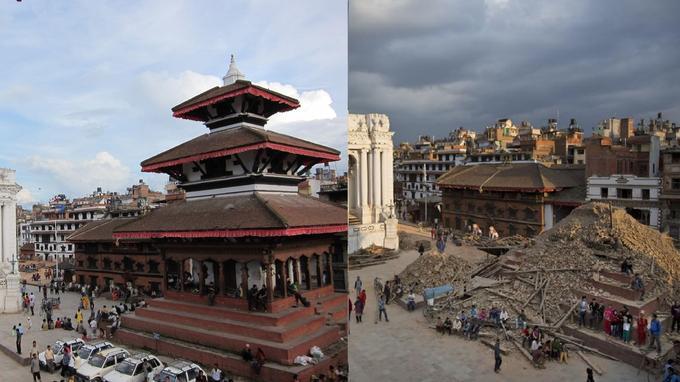 Une des places de Durbar Square, le centre historique de Katmandou, a été détruite. Sur ce montage photo, on voit ici le Basantapur Square, situé au sud du centre historique. Crédits photo: AP Photo/Bernat Armangue et photo de droit commun. Montage: Le Figaro.