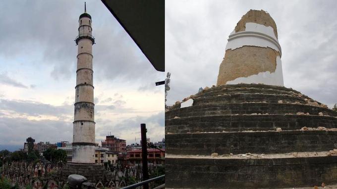 La tour historique de Dharhara a été complètement détruite. Crédits photo: AP Photo/ Niranjan Shrestha et photo de droit commun. Montage: Le Figaro.