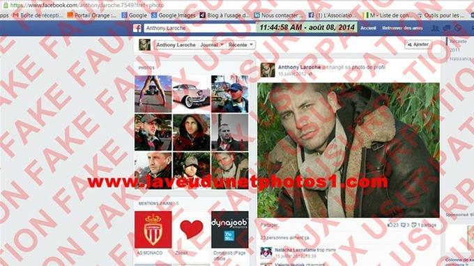 Capture d'écran du faux compte Facebook «Anthony Laroche» réalisée par le site www.laveudunetphotos1.com.