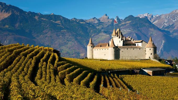 L'impressionnant château d'Aigle, dans le canton de Vaud, fut érigé dès le XIIème siècle.