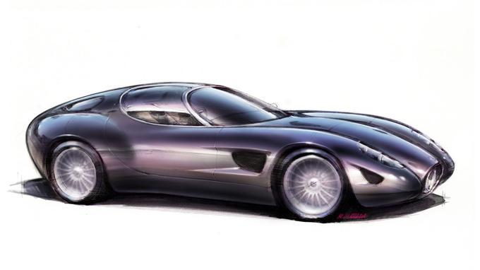 Les premiers sketchs démontrent que le coupé 450S de 1957 a guidé le travail du designer japonais Harada.