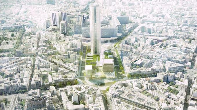 Vue aérienne du projet de rénovation de l'Ensemble immobilier tour Maine-Montparnasse (EITMM)