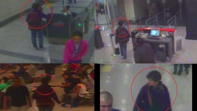 Extraits des images enregistrées par les caméras de vidéosurveillance de l'aéroport d'Istanbul. On aperçoit Jacky Sutton à différents endroits de l'aéroport.
