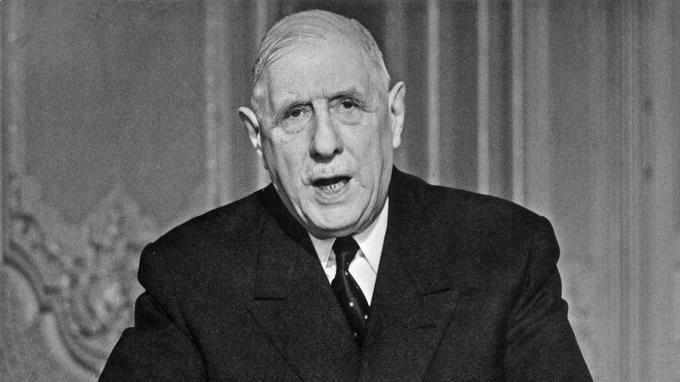 Le général de Gaulle lors de son allocution télévisée du 24 mai 1968.