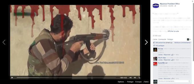 Capture d'écran d'une vidéo Facebook de la présidence, faisant le parallèle entre le printemps arabe et la stabilité du pays.