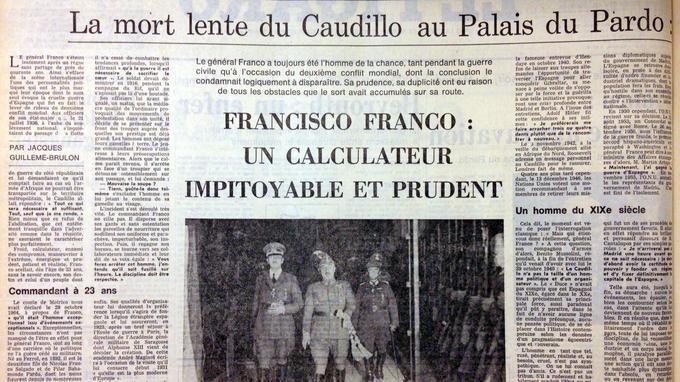 Alors qu'on attend sa mort, le portrait du général Francisco Franco paraît dans le Figaro du 29 octobre 1975.