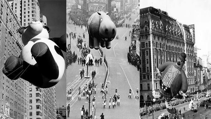 Les ballons de la parade de Thanksgiving colore le ciel chaque dernier jeudi de novembre à New York, ici dans les années 40.