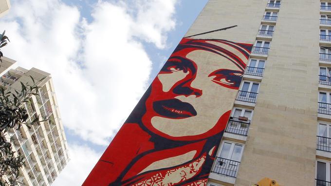 Peinture murale de Shepard Fairey, alias Obey.
