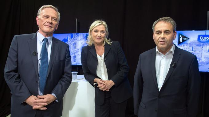 Pierre de Saintignon (PS), Marine Le Pen (FN), Xavier Bertrand (LR)