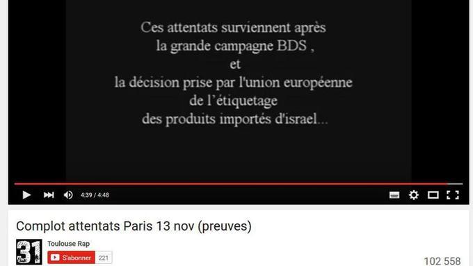 Exemple d'une vidéo YouTube totalisant plus de 100.000 vues relatant un récit conspirationniste des évènements du 13 novembre.