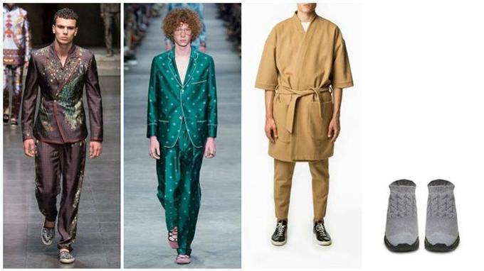 De gauche à droite: Défilé Dolce & Gabbana printemps-été 2016 ; Défilé Gucci printemps-été 2016 ; Kimono en laine, Drôle de Monsieur ; Sneakers aspect laine, Maison Margiela (Crédits photo: DR)