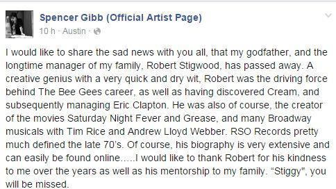 Posté sur le compte Facebook de l'artiste Spencer Gibb.