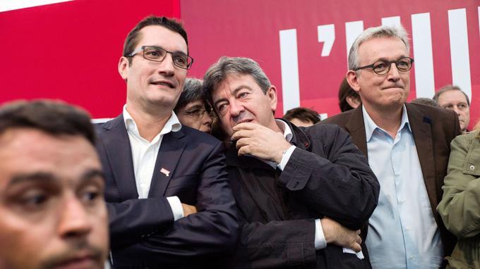 Olivier Dartigolles (PCF), Jean-Luc Mélenchon (PG), et Pierre Laurent (PCF)