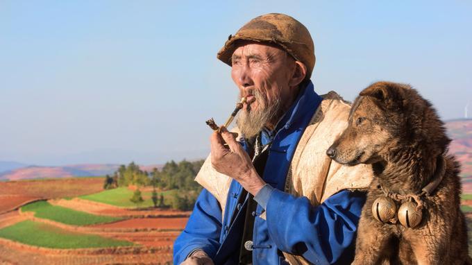 En compagnie de son chien, le berger Zhang Dong Qiang, qui cultive une sagesse toute confucéenne.