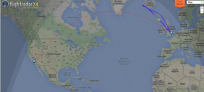 L'avion a fait demi-tour. (Capture d'écran flightradar24.com)