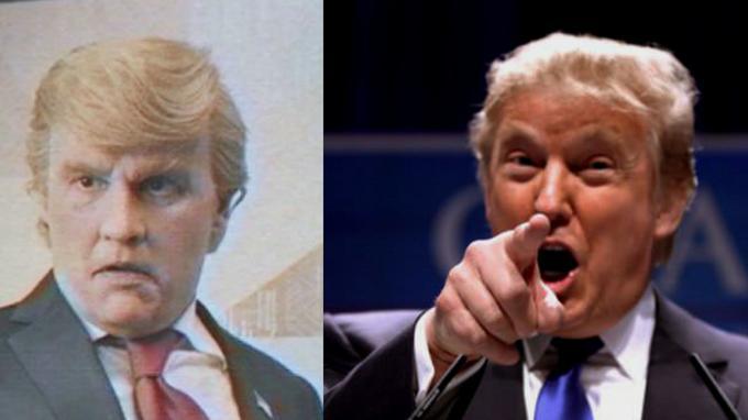 Johnny Depp grimé en Donald Trump (à gauche) et son modèle original, en plein discours.