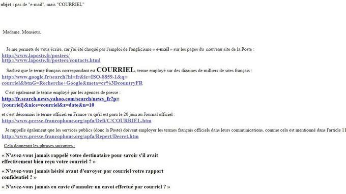 Copie d'un courriel envoyé par Daniel D.P. aux services de La Poste pour protester contre l'usage du terme «e-mail», le 7 novembre 2003.