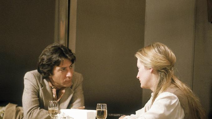 Dustin Hoffman et Meryl Streep lors du tournage du film <i>Kramer contre Kramer</i> de Robert Benton en 1978.