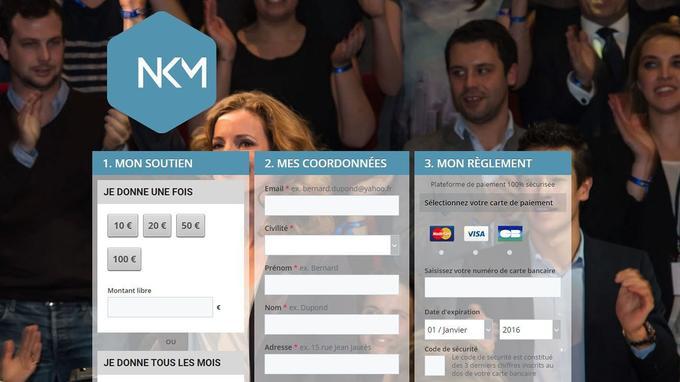 L'interface consacrée aux dons sur le site de Nathalie Kosciusko-Morizet