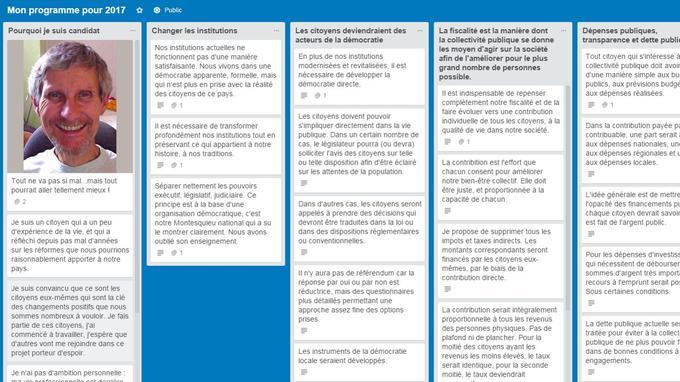 Une fiche candidat. LaPrimaire.Org utilise l'application Trello pour présenter les différents programmes.