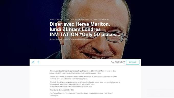 L'invitation à un dîner à Londres avec Hervé Mariton