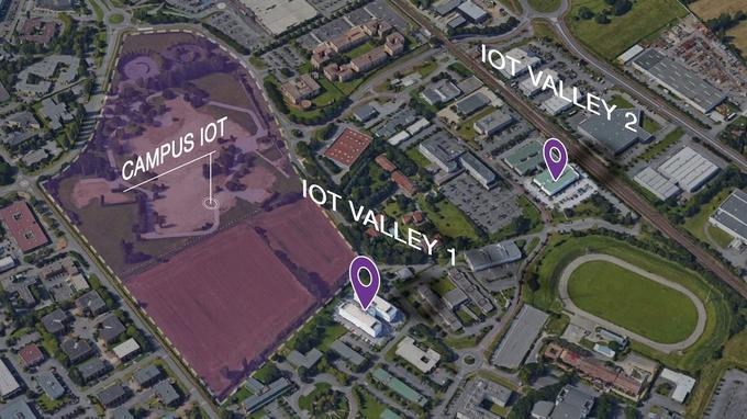 La carte des bâtiments actuels de l'IOT Valley et du périmètre du futur Campus IOT.
