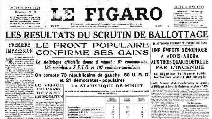 Titre sobre et informatif à la Une du Figaro du 4 mai 1936 au lendemain des élections législatives.