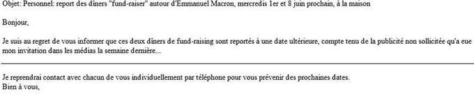 Extrait du mail du 17 mai d'un proche d'Emmanuel Macron organisant des levées de fonds à son domicile.